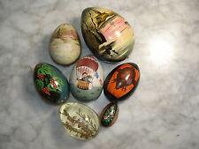 7 Oeufs de Pâques de collection en Bois peint signés - Hand Painted Wooden Eggs