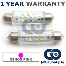 2X PINK NUMBER PLATE INTERIOR LIGHT 6 DOME LED BULBS 44MM 05PX2