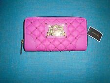 Juicy Couture Malibu Pink Quilted Studded Nylon Zip Wallet YSRUO185 NWT S/O $90