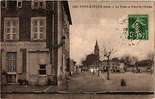 CPA   Pont-Évéque (Isére) - La Poste et Place de l'Eglise  (434363)