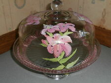 HANDPAINTED PINK/PEACH LILY CAKE PLATE/PUNCH BOWL