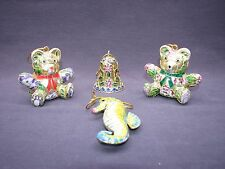 4 Lot of Chinese Cloisonne Enamel Hanging Ornaments Teddy Bears Bell Seahorse