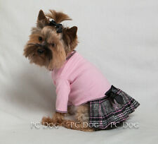 M Baby Pink Plaid Turtleneck T Shirt Dog Dress clothes pet Medium Pc Dog®