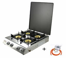 Gas Stove with Lid 4 burners Portable Camping Outdoor LPG 13.1kW NGB4C WOK NEW