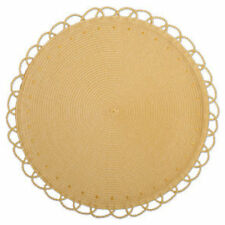 Crate & Barrel MAISIE -TAG CHELSEA ROUND WOVEN PLACEMAT-Yellow- Set of 6 - NEW