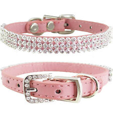 "Pink Bling Crystal PU Leather Collar for Puppy and Dog XS Extra Small 7""-10"""