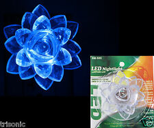 BLUE NIGHT LIGHT LED LAMP PLUG-IN WALL FLOWER DESIGN COVER ON /OFF SWITCH