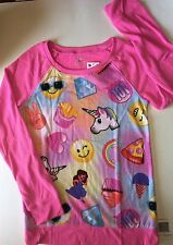 NWT JUSTICE GIRLS KAYLIE TOP EMOJIS PINK UNICORNS HEART GIRLS SIZE 12 SWEATSHIRT