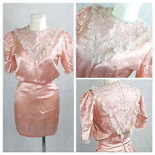 Vintage 80's Dress Party Prom Salmon Pink Mini Lace Fitted UK8/10 EU36/38