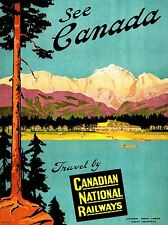 TRAVEL TRANSPORT CANADA RAIL TRAIN LAKE MOUNTAIN SCENIC TREE PINE POSTER LV4359