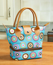 Dual Compartment Insulated Lunch Tote Bag Circles Pattern School Work Picnic