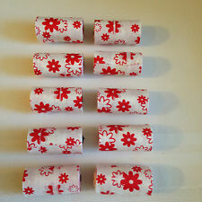 Dog Waste Poop Bags 10 Rolls -15 Bags per Roll  White with Red Flower Designs