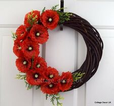 LARGE SILK FLAME RED POPPY WREATH REMEMBRANCE MEMORIAL TRIBUTE HANDMADE