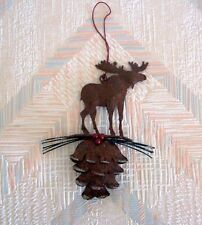 Moose Pine Cone Christmas String Ornament Metal Regal Art