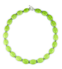 """Green turquoise nugget with silver spacer bead necklace-18"""" NKL340016"""