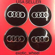 AUDI 4Pcs Black 65mm Domed Car Emblem Badge Wheel Center Hub Cap Decals Stickers