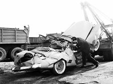 Early 1950s Ford Convertible Flattened on hooked tow truck 8 x 10 Photograph