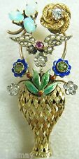 14 K GOLD VASE OF ANTIQUE STICKPINS BROOCH PIN PERFECT FOR STICKPIN COLLECTOR