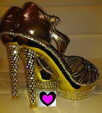 METALLIC GOLD SPARKLE RHINESTONE PLATFORM STILETTO HEEL 7 NEW Club Stripper