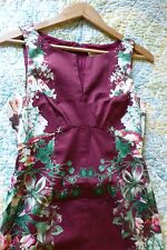 ModCloth Dress Red Floral sheath Cotton Stretch XS 0 2 VGUC
