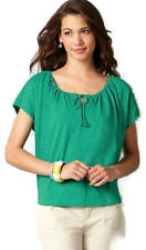 NWT Ann Taylor Loft Green Cotton Scoop Tie Neck Relaxed Cropped Silho Shirt XXS