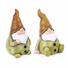 Set of Two Terracotta Garden Gnome Ornaments in Green Finish