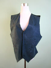 Ladies Womens Vtg 70s Casual Formal Embroider Waistcoat Under Jacket 16 18 LW101