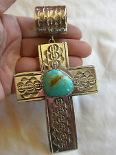 "UNISEX NATURAL TURQUOISE STERLING SILVER CROSS PENDANT  C CHAMA   5-1/4"" LONG!"