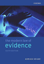 The Modern Law of Evidence Keane, Adrian Very Good Book