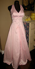 Vtg 90s BUBBLEGUM Pink MICHAELANGELO  Maxi HALTER Formal PROM Gown DRESS 9/10