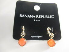 Banana Republic Faux Pearl Hoop Peach Stone Drop earrings NIP $29