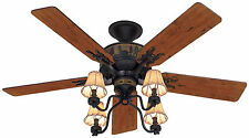 """Hunter 52"""" Rustic Lodge Brittany Bronze 4 Light Fixture Pull Chain Ceiling Fan"""