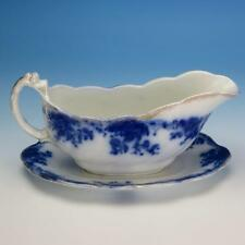 Flow Blue China - Grindley Marguerite Pattern - Gravy Boat with Undertray