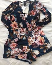 Ladies *NEW* Missguided Blue Flower Print Velvet All In One Shorts Outfit Size 8