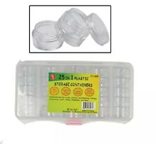 25 Plastic Storage Containers W/ Stackable Screw on Lids Great for Survival Pack