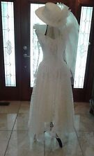 Vintage Victorian Western Lace Wedding Dress Gown with Hat-Never worn