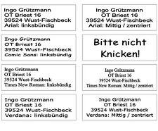 1280 Adressaufkleber mit  Text Ihrer Wahl 48,5 x 16,9 sp. Ecken