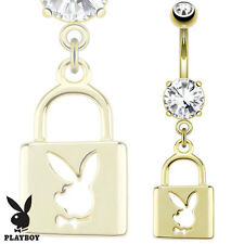 """1 Pc Licensed PlayBoy Bunny W/ Die-Cut Lock Gold Plated Belly Ring 14g 3/8"""""""