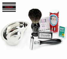 Luxury Shaving Set - Safety Razor, Badger Brush, Shaving Soap bowl & Blades