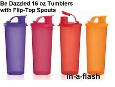 Tupperware BE DAZZLED FOUR 16 OZ TUMBLER SET Flip-Top Spouts Tumblers SpArKLe!