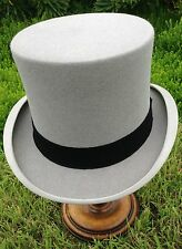 VINTAGE FELTED WOOL GREY TOP HAT  SIZE UK 6 3/4 (S) IN ORIGINAL CARD HAT BOX