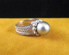 Silver Metallic Tahitian Pearl Matte Platinum 900 Diamond Cocktail Ladies Ring