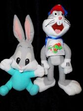 Lot of 2 Warner Bros Plush Bugs Bunny From Space Jam and Baby Bugs Bunny