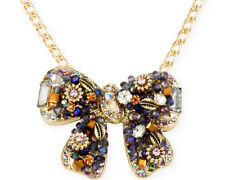 BETSEY JOHNSON 'Woven Clusters' Embellished Bow Pendant Gold-Tone Necklace $65