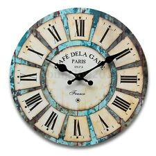 Wood Vintage Wall Clock Rural Antique Retro For Home Kitchen Bedroom Decoration