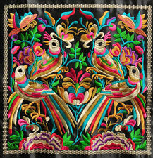 Chinese square antique tribal miao hmong machinemade embroidery Birds
