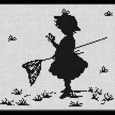 Cross Stitch Kit Girl with Butterflies Luca-s Anchor threads