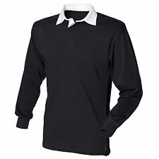 Mens Long Sleeve Plain Rugby Shirt Stripe Striped Diagonal Harlequin Cotton