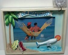 """Russ Barrie """"Our Honeymoon"""" Hand painted photo frame for 4"""" x 6"""" photos"""