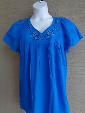 Just My Size Cotton Crinkle Gauze S/S Embroidered Neckline Blue Peasant Top  2X